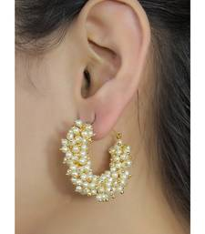 Designer Pearl Stone Gold Plated Bunched Pearl Bali Hoop Earrings