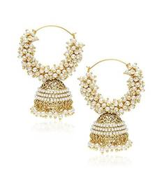 Designer Pearl Stone Gold Plated Bunched Pearl Bali Hoop Gold Plated Jhumka Earrings