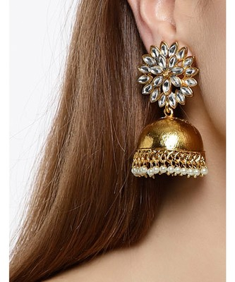 Designer Multicolour Golden Gold Plated Jhumka Dangler Floral Stud Earrings