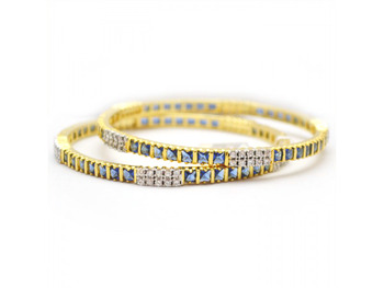 Beautiful Studded Bangles with Blue Stones