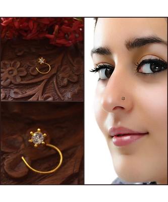 Designer diamond classic Golden nose pin or nose ring