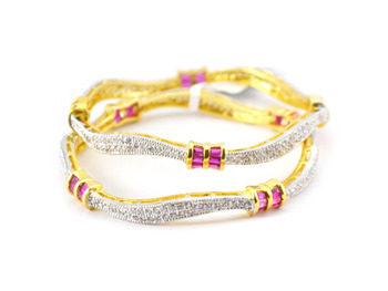 Alluring Curvy Bangles With Coloured Baguette Stones