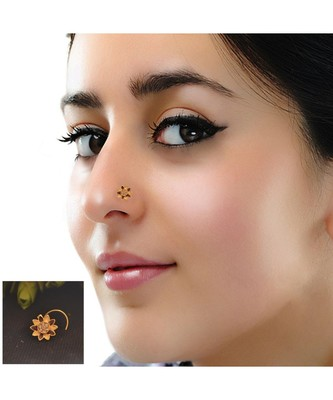 Designer Diamond Classic Golden Nose Pin Or Nose Ring Shreevaram