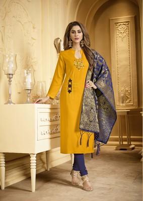Mustard embroidered cotton salwar with dupatta