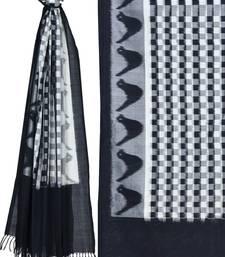 Black and White Pochampally Ikat Cotton Handloom Dupatta with Checks Design