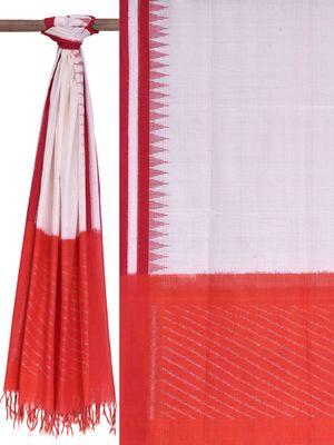 White and Red Pochampally Ikat Cotton Handloom Dupatta