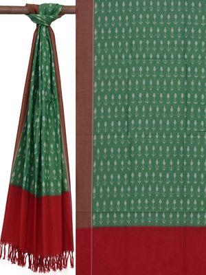 Green Pochampally Ikat Cotton Handloom Dupatta with Arrows Buta