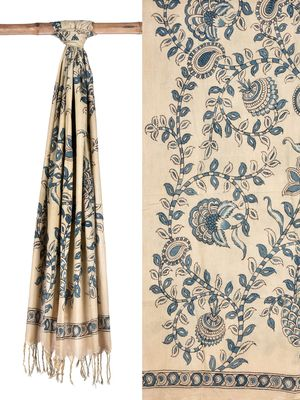 Cream and Blue Kalamkari Hand Painted Venkatagiri Cotton Dupatta with Flowers Design