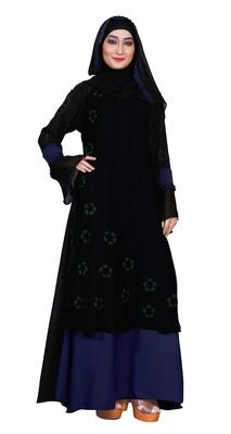 Blue embroidered nida burka