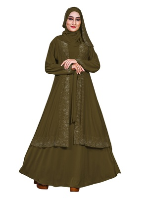 Green embroidered lycra burka