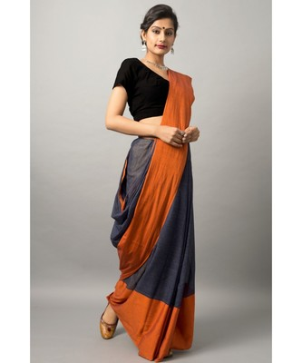 Khadi cotton saree with chic color combination of deep blue and orange