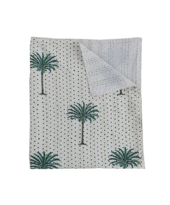 PALM TREE GREEN PRINTED KANTHA QUILT INDIAN HANDMADE PRINT BEDSPREAD COTTON BLANKET QUEEN SIZE