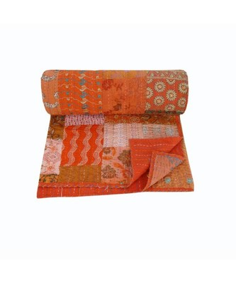 ORANG PATOLA PATCH  KANTHA QUILT INDIAN HANDMADE PRINT BEDSPREAD COTTON BLANKET QUEEN SIZE