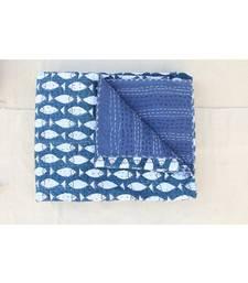 INDIAN HANDMADE INDIGO BLUE FISH DESIGN KANTHA QUILT PRINT BEDSPREAD COTTON BLANKET QUEEN SIZE