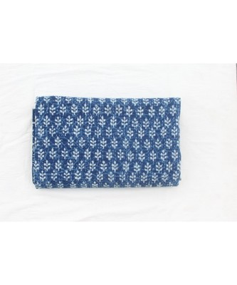 INDIAN HANDMADE INDIGO BLUE BUTTA DIESIGN KANTHA QUILT PRINT BEDSPREAD COTTON BLANKET QUEEN SIZE