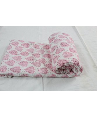 INDIAN HANDMADE WHITE & PING BIG BUTTA DESING KANTHA QUILT PRINT BEDSPREAD COTTON BLANKET QUEEN SIZE