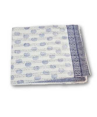 INDIAN HANDMADE PRINTED ISMOL PAISLEY DESIGN KANTHA QUILT PRINT BEDSPREAD COTTON BLANKET QUEEN SIZE