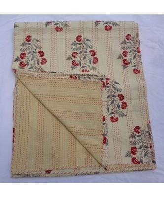 INDIAN HANDMADE BEIGE FLOWER DESIGN KANTHA QUILT PRINT BEDSPREAD COTTON BLANKET QUEEN SIZE