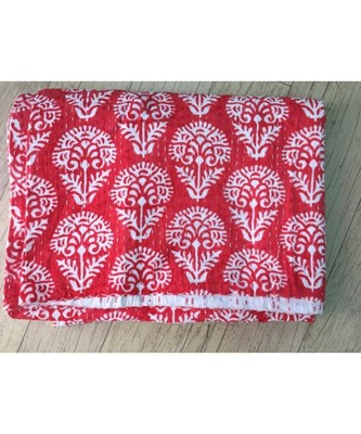 INDIAN HANDMADE RED BUTTA PRINTED DESING KANTHA QUILT PRINT BEDSPREAD COTTON BLANKET QUEEN SIZE