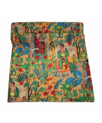 INDIAN HANDMADE FARIDA PRINRED KANTHA QUILT PRINT BEDSPREAD COTTON BLANKET QUEEN SIZE