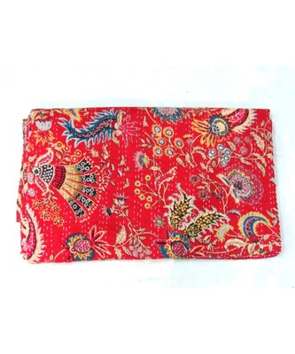 INDIAN HANDMADE RED PRINTED KANTHA QUILT PRINT BEDSPREAD COTTON BLANKET QUEEN SIZE