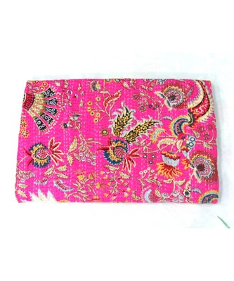 INDIAN HANDMADE PINK  PRINTED KANTHA QUILT PRINT BEDSPREAD COTTON BLANKET QUEEN SIZE
