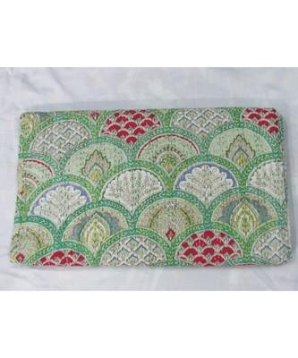 INDIAN HANDMADE GREEN MUKUTA PRINTED DESIGN KANTHA QUILT PRINT BEDSPREAD COTTON BLANKET QUEEN SIZE