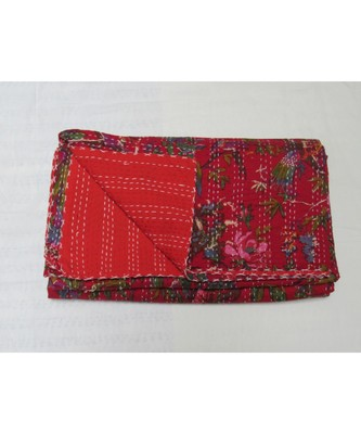 INDIAN HANDMADE RED BIRD PRINTED DESIGN KANTHA QUILT PRINT BEDSPREAD COTTON BLANKET QUEEN SIZE