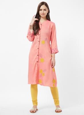 Pink embroidered rayon kurti