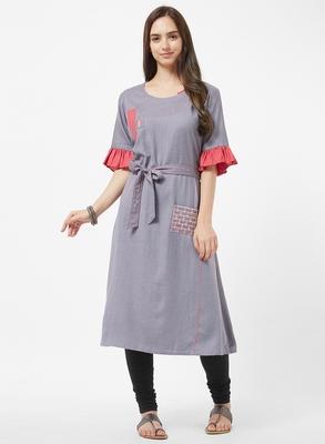 Grey embroidered rayon kurti