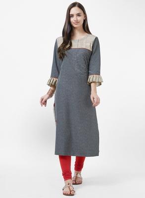 Grey printed cotton silk kurti
