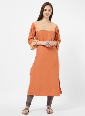 Orange printed cotton silk kurti
