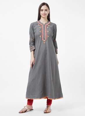 Grey embroidered cotton kurti