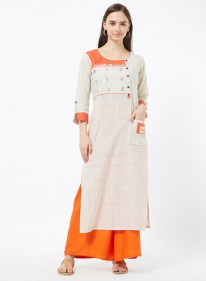 Orange embroidered cotton kurti