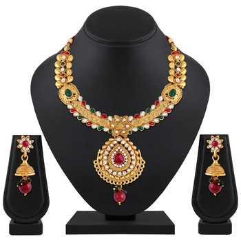 Traditional Designer Leaf Shape Gold Plated Multy Stone Necklace Set For Women