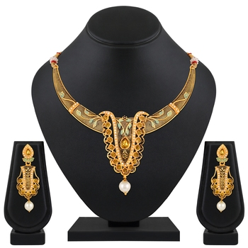 Exclusive Leaf Design Gold Plated Lct Stone Enamel Work Necklace Set For Women