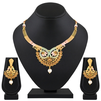 Latest Fashionable Choker Style Enamel Work Gold Plated Lct Stone Necklace Set For Women