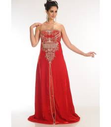 Red Velvet Embroidered Zari_Work Fustan Partywear Gown
