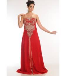 red velvet embroidered zari_work fustan partywear gown