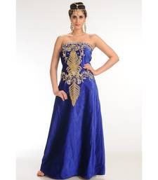 royal-blue velvet embroidered zari_work fustan partywear gown