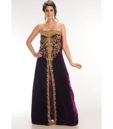 Wine Velvet Embroidered Zari_Work Fustan Partywear Gown