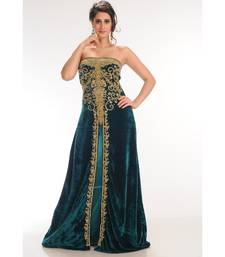 Teal Velvet Embroidered Zari_Work Fustan Partywear Gown