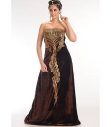 Brown Velvet Embroidered Zari_Work Fustan Partywear Gown