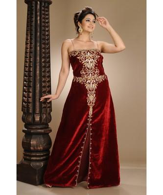 Maroon Velvet Embroidered Zari_Work Fustan Partywear Gown