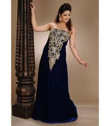 Royal-Blue Velvet Embroidered Zari_Work Fustan Partywear Gown