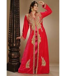 red velvet embroidered zari_work islamic-kaftans