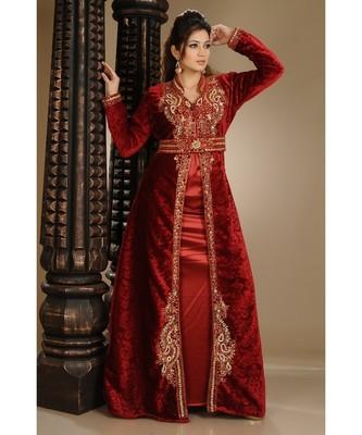 Maroon Velvet Embroidered Zari_Work Islamic-Kaftans
