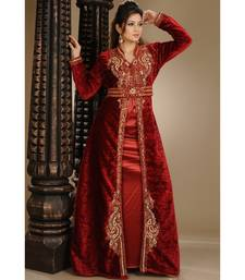 maroon velvet embroidered zari_work islamic-kaftans