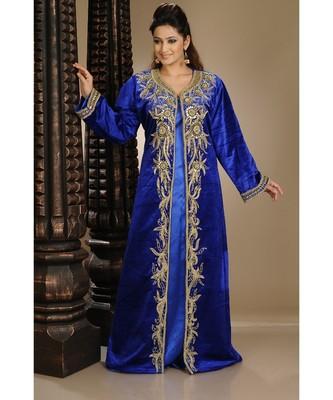 Royal-Blue Velvet Embroidered Zari_Work Islamic-Kaftans