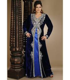 Royal-Blue Velvet Embroidered Zari_Work Islamic-Kaftans